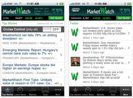Wall Street Journal iPhone App Screenshots